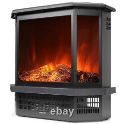 1500W 3-Side Electric Stove Heater Fireplace Flame Stove Realistic Effects