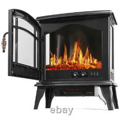 1500W Electric Fireplace Freestanding Heater Wood Fire Flame Adjustable Stove