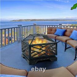 26in Outdoor Fire Pit Metal Stove Fire Pit Wood Burning Bronze With Cooking Grate