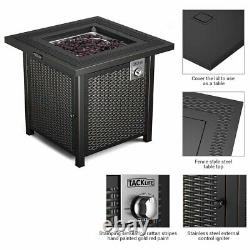 28 Outdoor Propane Fire Pit Patio Gas Table Square Fireplace 50,000BTU US
