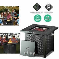 28 Propane Gas Fire Pit Table 50000 BTU Outdoor Courtyard Heater Patio with Cover
