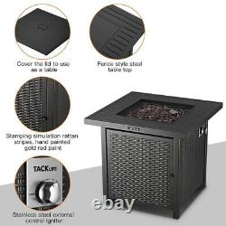 28 inch Outdoor Propane Fire Pit Square Table Auto-Ignition Gas Stove With Lid