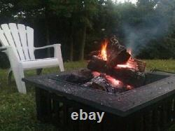 32 Fire Pit With Cover Wood Burning Outdoor Party Grill Patio Backyard Portable