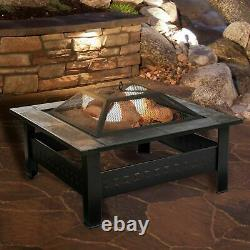 32 Inch Square Tile Fire Pit with Screen Cover Bronze Finish Backyard Lawn
