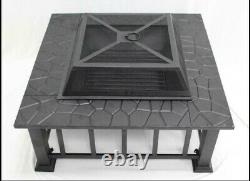 32 Outdoor Garden Fire Patio Square Fireplace Heater Stainless Steel Table