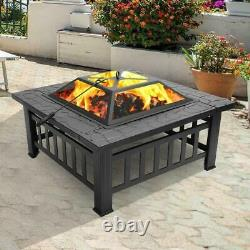 32 Outdoor Metal Fire Pit Backyard Patio Garden Square Stove FirePit Heater