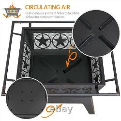 32in Iron Fire Pit Outdoor Backyard Steel Fire Stove with Cooking Grills & Poker