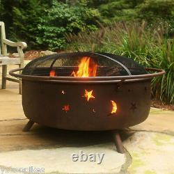 34 Cosmic Outdoor Wood Fire Pit, Spark Screen, Wood Grate & Poker