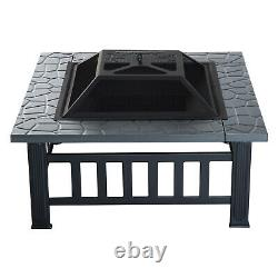 34 Outside Yard Metal Square Patio Fire Pit with Heat Basin and Saftey Mesh