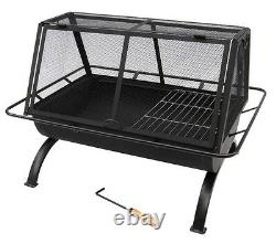 35x26 Northland Outdoor Wood Fire Pit, Cooking Grill, Poker & Vinyl Cover