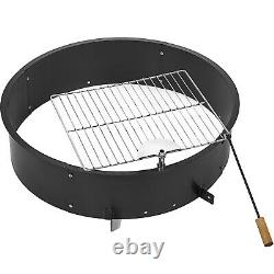 36 In Fire Pit Ring Solid Steel Campfire Pit with 360º Swivel Cooking Grill Round