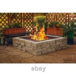 36 in. X 10 in. Square solid steel wood fire pit in black pleasant hearth ring