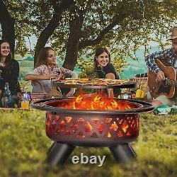 38 Heavy Duty Outdoor Fire Pit Wood Burning Patio Heater Backyard Metal Stoves