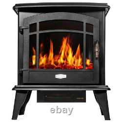 3 Sided 1500W Adjust Electric Fireplace Free Standing Heater Wood Fire Flame Sto