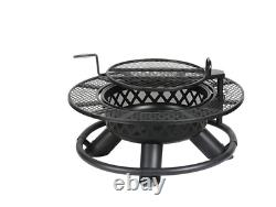 47 Solid Heavy Duty Metal Lattice Fire Pit Wood w Cook Grate Outdoor Patio Camp