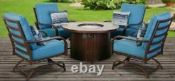 5 PC Patio Outdoor Furniture Fire Chat Pit Set Table Cushion Brown Pillows