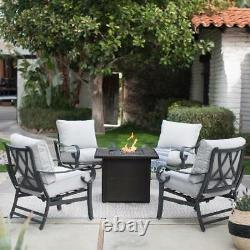 5 Piece Rocker Chat Set with Propane Fire Pit Outdoor Modern Patio Furniture