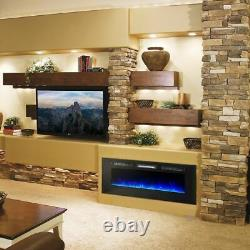 60 Wide Electric Fireplace Wall Mounted Heater Multi-Color Flame with Remote