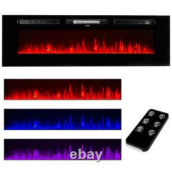 60 X-Large Electric Fireplace Wall Mounted Heater Multi-Color Flame with Remote