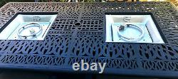 7 Piece Outdoor Wicker Patio Dining Chair Set Propane Fire Pit Table Aluminum
