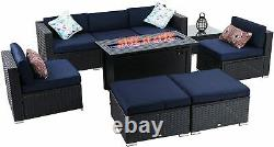 9-Piece Outdoor Rattan Furniture Sectional Sofa Set with Gas Fire Pit Table