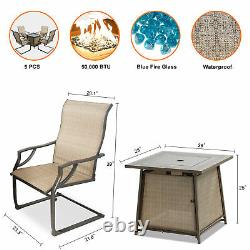 BALI OUTDOORS Propane Fire Pit 28 inch Table Set with 4 Textilene Spring Chairs