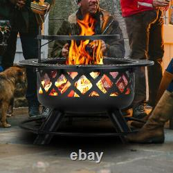BALI OUTDOORS Wood Burning Fire Pit 32 Inch Outdoor Backyard Patio Fire Pit