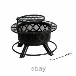 BALI OUTDOORS Wood Burning Warm Fire Pit 32 Inch Outdoor Backyard Patio Fire Pit