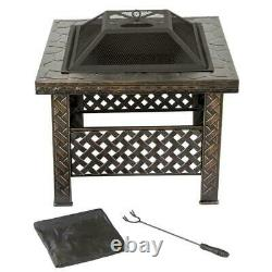Bronze Effect Square Mosaic Outdoor Fire Pit Large Patio Heater Log Burner Stove