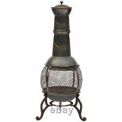 Chiminea Large Black And Antique Gold Steel Outdoor Patio Charcoal Fire Pit Bowl