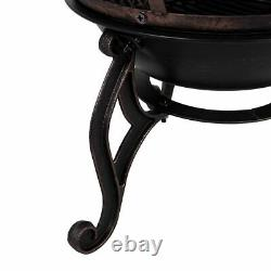 Chiminea Large Black And Antique Gold Steel Patio Outdoor Charcoal Fire Pit Bowl