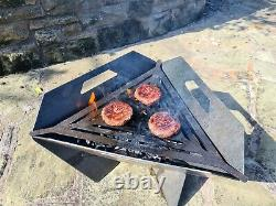 Contemporary garden or camping Fire pit, BBQ with cooking grill