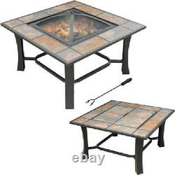 Convertible 32 Inch Square Tile Top Steel Fire Pit Coffee Table Backyard Patio