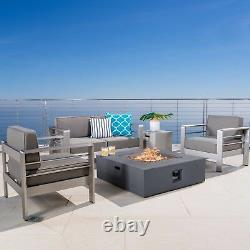 Coral Bay Outdoor Aluminum Khaki Chat Set with Fire Table