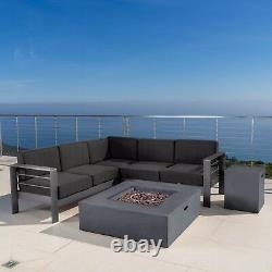 Coral Bay Outdoor Grey Aluminum 5 Piece V-Shape Sectional Sofa Set with Fire Tab