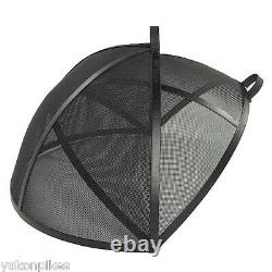 Easy Access Round Hinged Outdoor Fire Pit Metal Screen