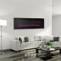 Electric Fireplace Wall Mount Heater flame Adjustable Heating Black 50 3-color