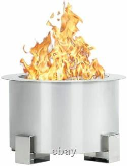 Esright Smokeless Fire Pit, 21.5 Inch Stainless Steel Outdoor Firepit, Silver