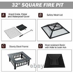 FOBUY Fire Pit with BBQ Grill Shelf, Outdoor Metal Brazier Square Table Firepit