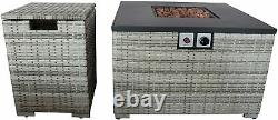 Fire Pit Fireplace Metal Table with Lid, Gas Tank Holder for Indoor and Outdoor