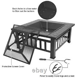 Fire Pit Table Outdoor Garden Terrace Fire Bowl Heater/BBQ/Ice Pit Fireplace 32