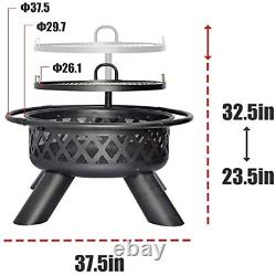 Fire Pit Wood Round Fire Bowl 38 Ourdoor Heater withCover Adjustable Grill Heavy