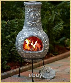 GRAY Rustic Southwest Sun Face Clay Chiminea Outdoor Fire Pit Patio with Stand Lid