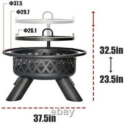 Galilo Fire Pit Wood Round Fire Bowl 38 Ourdoor Heater withCover Adjustable Grill