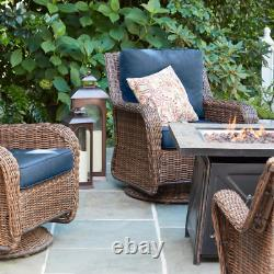 Gas Fire Pit 50,000 BTU with Slate Table Top, Adjustable Flame, Antique Bronze
