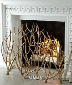 Gold Branches Fireplace Fire Screen Hand Forged Iron Twigs Uttermost 18796