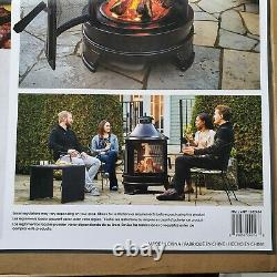 Hello Outdoor Steel Garden Cooking BBQ Fire Pit with Swing Out Iron Barbecue