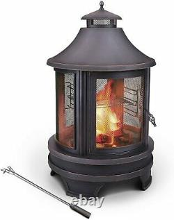 Hello Outdoors Steel Garden Cooking Fire Pit Grill BBQ Barbecue + Swing Out Iron