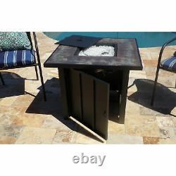 Hiland AFP-STT Outdoor 30 In Square Tile Table Top Propane Fire Pit & Fire Glass