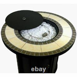 Hiland AFP-TTR Outdoor 30 In Round Tile Table Top Propane Fire Pit & Fire Glass